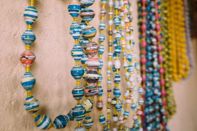 Finished paper bead necklaces